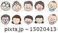 4世代の家族の顔のイラストセット 15020413