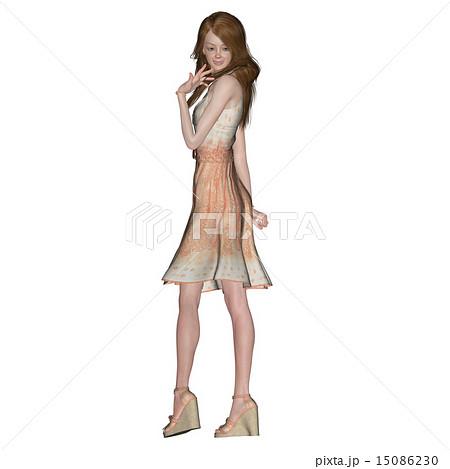 ポーズするサマードレスの女性 perming 3DCGイラスト素材
