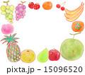フルーツ 果物 フレーム 枠 額 食べ物 バナナ イチゴ メロン モモ ブドウ 葡萄 ぶどう グレー 15096520
