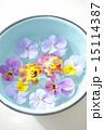 三色スミレ 浮かべる ボウルの写真 15114387