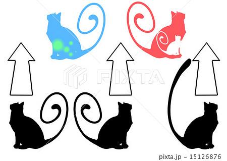上を見る猫のシルエットのイラスト素材 15126876 Pixta