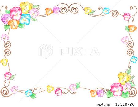 フレーム枠額花柄花パンジーカラフル春可愛い植物春の花花壇