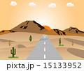 砂漠の道路 夕日 15133952
