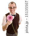 Smiling Geeky Guy with Flower 15135507