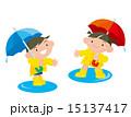 雨降り レインコート 男の子のイラスト 15137417