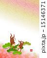 申 年賀素材 はがきテンプレートのイラスト 15146371