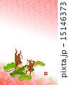 申 年賀素材 はがきテンプレートのイラスト 15146373