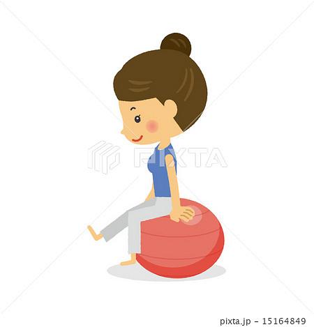 バランスボールで運動する女性のイラスト素材 15164849 Pixta