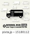 Flat school bus background illustration 15180112