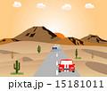 砂漠の道路と車 15181011