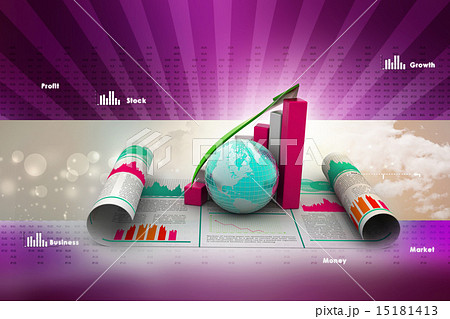 business growth graph and globeのイラスト素材 15181413 pixta