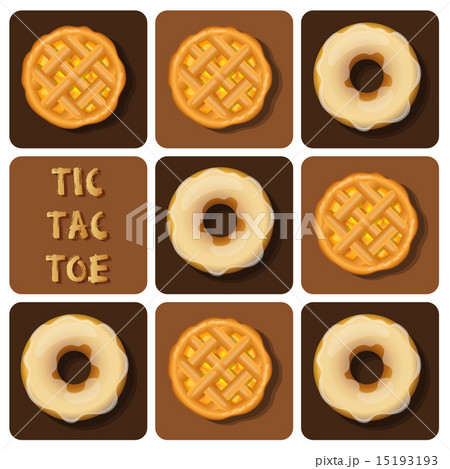 Tic-Tac-Toe of donut and pineapple pie 15193193