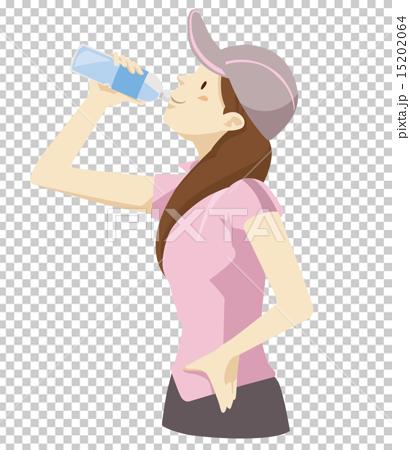 水分補給する女性 15202064