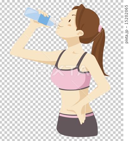 水分補給する女性 15202065