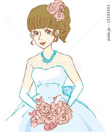 ブライダルウェディングドレス結婚式新婦ベクターイラスト手書