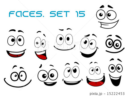cartoon laughing faces with googly eyesのイラスト素材 15222453 pixta