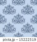 Stylized blue indian lotus seamless pattern 15222519