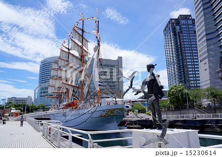 帆船日本丸とかもめと少女像 15230614
