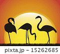 flamingo over landscape background animal vector illustration 15262685