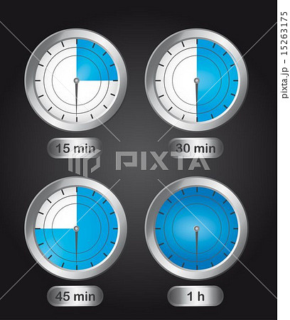 four timer clock over black background vector illustrationのイラスト