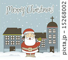 christmas card with santa claus and buildings vector illustratio 15268002