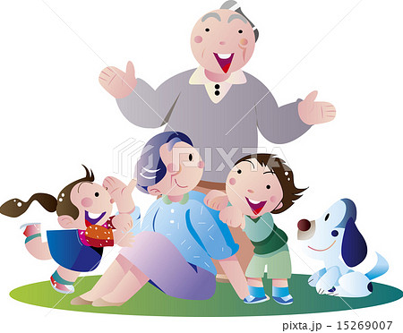 老夫婦, おじいさん, 年金, 中高年, 敬老の日, おばあさん, ベクター, 3世帯, 孫, 退職, 公園, ペット, 女の子, 男の子, 楽しい, 老人, シニア, 老後