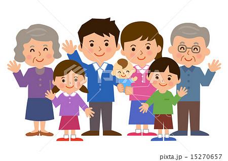 7人家族全身のイラスト素材 15270657 Pixta