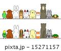 ペット 一列 正面 背面 コピースペース セット 15271157