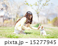 愛犬と公園で遊ぶ女の子 15277945