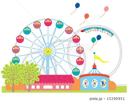青空の遊園地のイラスト素材 15290951 Pixta