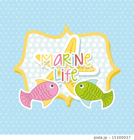 marine life with cute fishes over blue background vector illustrのイラスト素材 [15300037] - PIXTA