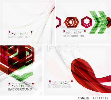 Set of abstract geometric backgrounds. Waves, triangles, linesのイラスト素材 [15314615] - PIXTA
