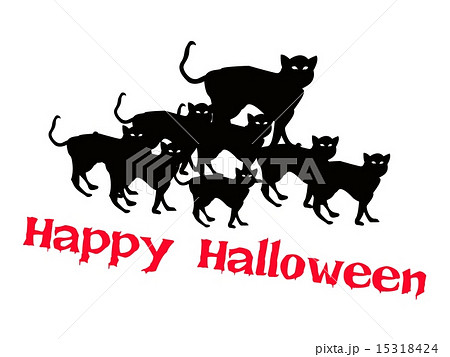 three evil cat with word happy halloweenのイラスト素材 15318424