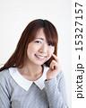 頬 美肌 女性の写真 15327157