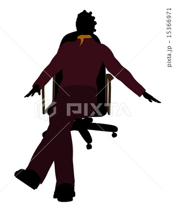 African American Casual Woman Sitting On A Chair Illustration Silhouetteのイラスト素材 [15366971] - PIXTA