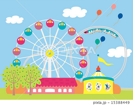 青空の遊園地のイラスト素材 15388449 Pixta
