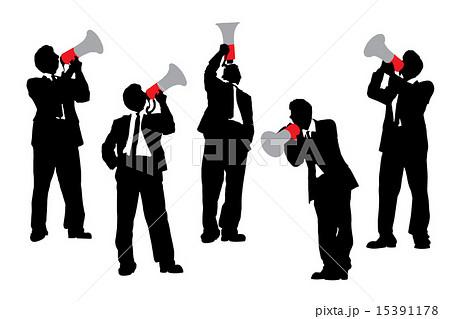 Business men shouting by megaphone 15391178