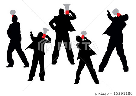 Business men shouting by megaphone 15391180