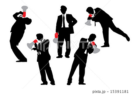 Business men shouting by megaphone 15391181