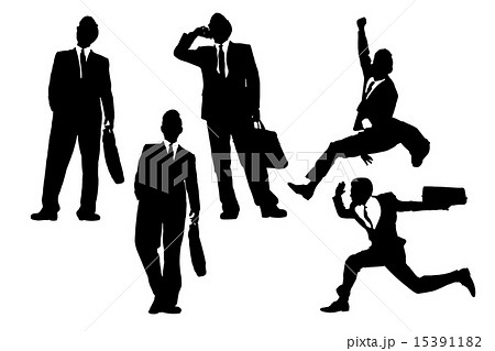 happy jump and running Businessmen 15391182