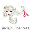 hairdresser making haircut at beauty salon 15407411