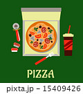 Takeaway pizza and soda drink 15409426