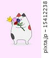 立つ 猫 花束のイラスト 15412238
