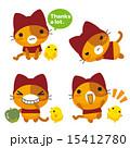 ネコとーく ベクター 赤ずきんのイラスト 15412780