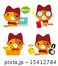 ネコとーく ベクター 赤ずきんのイラスト 15412784
