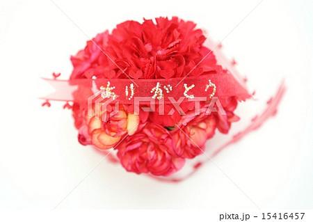 母の日父の日・赤いカーネーションのまん丸型花束に「ありがとう」アップ・白バック横位置赤リボン中央 15416457