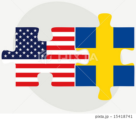 USA and Sweden Flags in puzzleのイラスト素材 [15418741] - PIXTA