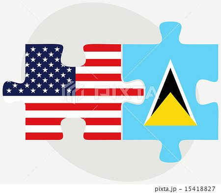 USA and Saint Lucia Flags in puzzleのイラスト素材 [15418827] - PIXTA