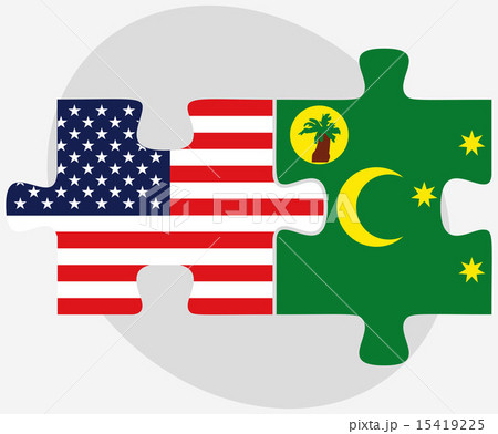 USA and Cocos (Keeling) Islands Flags in puzzleのイラスト素材 [15419225] - PIXTA