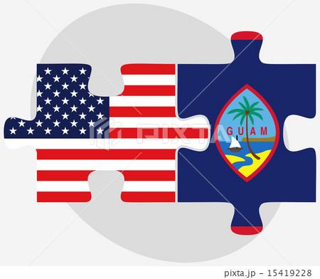 USA and Guam Flags in puzzleのイラスト素材 [15419228] - PIXTA